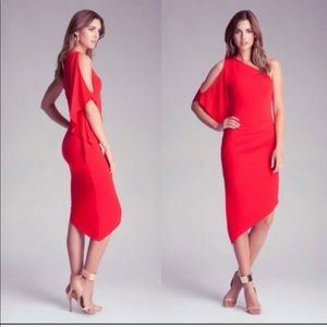 NWT BEBE red one shoulder midi dress size small